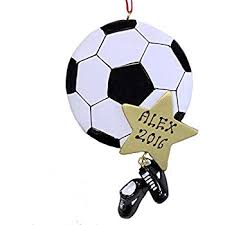 world soccer glass blown ornament
