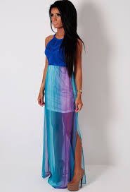 tears blue and purple ombre bandage maxi dress pink boutique