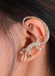 styles of earrings 1 fashion various styles one ear gecko wings leaves zircon