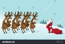 reindeer revolt confronting santa claus this stock vector 87948502