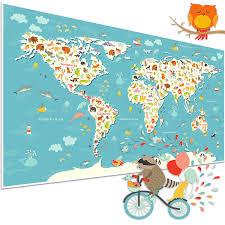 poster für kinderzimmer topposter kinderweltkarte kinderposter mit tieren poster in