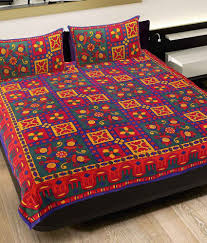Throw Pillow Covers Online India Grj India Rajasthani Sanganeri Print Double Bed Sheet With 2