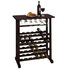 24 bottle wine rack table with stemware glass hanging rack