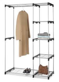 whitmor double rod closet organizer cloth hanging shelf