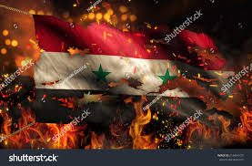 Burning Red Flag Syria Burning Fire Flag War Conflict Stock Illustration 215464120