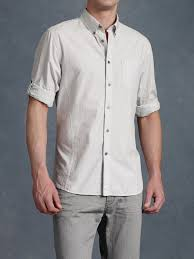 john varvatos roll up sleeve shirt in gray for men lyst