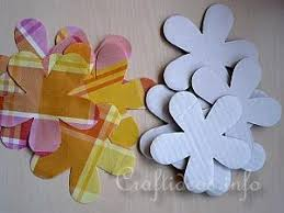 Fabric Flowers Paper Craft For Spring Recycled Cardboard Box And Fabric Flowers