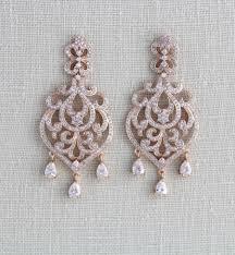 gunmetal chandelier earrings rose gold bridal earrings bridal jewelry crystal earrings