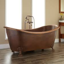 bathroom brown isabella copper double slipper clawfoot tub on brown isabella copper double slipper clawfoot tub on brown floor matched with tan wall for bathroom decor ideas