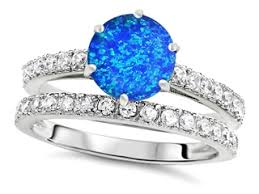 blue opal engagement rings k 7mm simulated blue opal wedding ring 307704