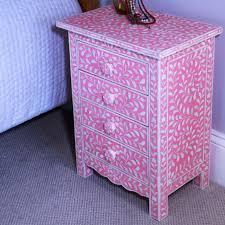 pink bone inlay 4 drawer bedside chest iris furnishing