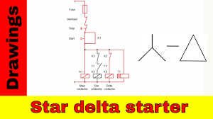star delta starter control and power circuit diagram youtube
