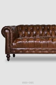 Brown Leather Chesterfield Sofa by Higgins Chesterfield Sofa In Rushmore