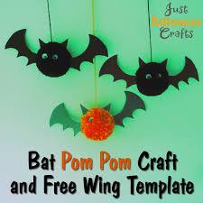 bat pom pom craft tutorial and free template