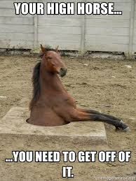 High Horse Meme - your high horse you need to get off of it hole horse meme