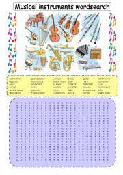 english exercises music wordsearch