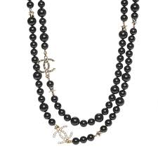 black large necklace images Chanel beaded star cc long necklace black gold 194811 jpg