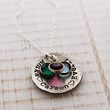 Silver Name Necklace Rustic Sterling Silver Name Necklace With Birthstones Woobie Beans