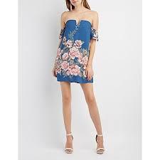floral notched off the shoulder dress charlotte russe