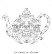 patterned teapot drawing stock vector 156144719