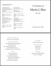 Sample Memorial Programs Martin Sikes 1968 2007 Memorial Page