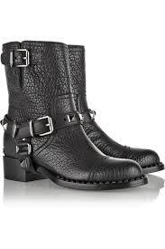 mens black leather biker boots miu miu embellished textured leather biker boots in black lyst