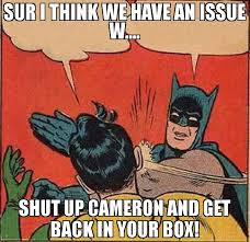 Cameron Meme - sur i think we have an issue w shut up cameron and get back in