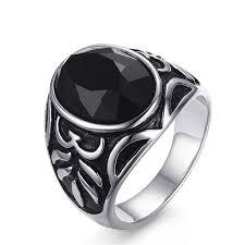 black stone rings images 2018 black stone rings for men stainless steel vintage fashion jpg