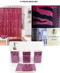 Animal Print Bathroom Ideas by Amazon Com 17 Piece Bath Accessory Set Pink Zebra Shower Curtain
