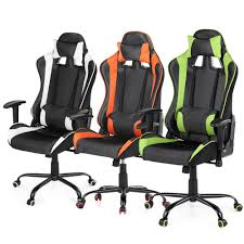 Gaming Desk Chair White Ikayaa Ergonomic Racing Gaming Office Computer Desk Chair