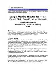 sample meeting minutes from a monthly home based child care