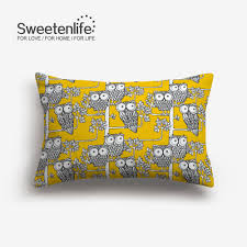 Owls And Trees Pattern Cushions Cover Home Decor Yellow Background