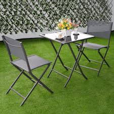 Bistro Sets Outdoor Patio Furniture 3 Pcs Bistro Set Garden Backyard Table Chairs Outdoor Patio