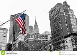 Flag Of New York City American Flag Colored New York City Usa Skyline Black And White