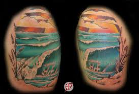 looking for unique new tattoos tattoos wave scene on shoulder