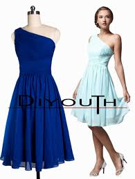 diyouth one shoulder chiffon dark blue short bridesmaid dresses cheap