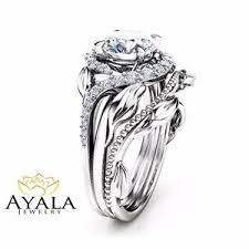 nature inspired engagement rings forever one moissanite engagement ring 14k white gold nature