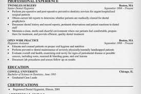 Dental Hygiene Resume Samples by Dental Hygiene Resume Hygienist Template Example Job