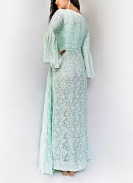 kikis crafted by swasti embroidered ice blue side slit gown