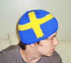 American Flag Beanie Sweden Flag Beanie Hat Hand Knitted For Teen Men Womens In