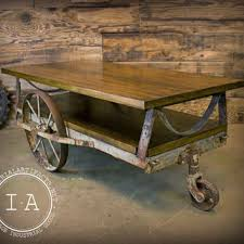 Vintage Coffee Table With Wheels Best Industrial Cart Coffee Table Products On Wanelo