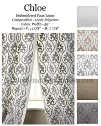 chloe sheer linen curtains embroidered scroll style standard