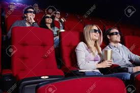 smiling people watch movies in cinema stock photo picture and