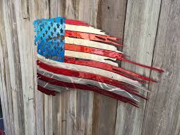 Wooden American Flag Wall Hanging Advanced Metal Art