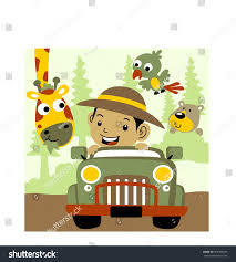 safari jeep cartoon visit national park jeep vector cartoon stock vector 563360596