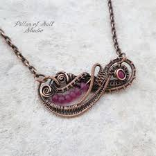 pink necklace images Dark pink mountain quot jade quot copper woven wire wrapped bib necklace jpg