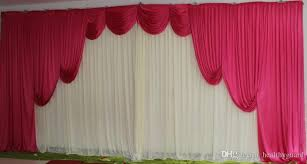 White Curtains With Pom Poms Decorating 3m 6m White Silk Wedding Backdrop Curtains Wedding