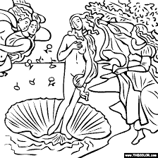 100 free coloring page of sandro botticelli painting birth of