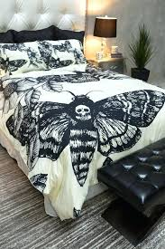black and cream king size duvet covers featherweight moth skull