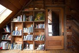 bookshelves in attic family room traditional with vaulted ceiling